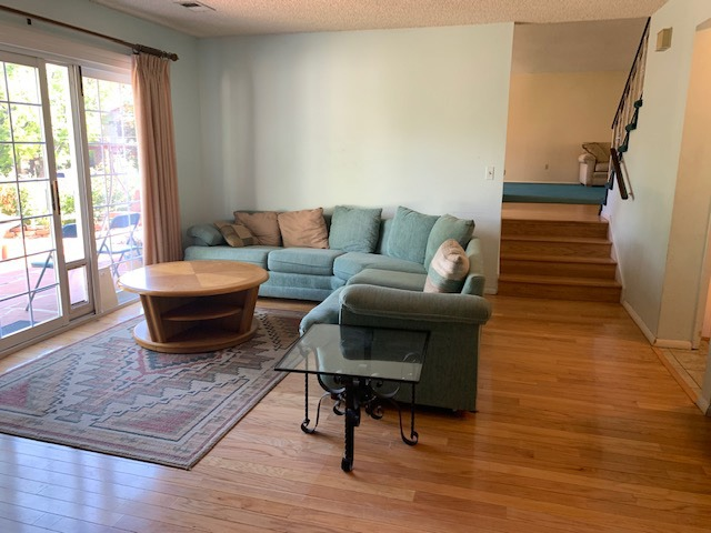 Very Large Family Room with Hardwood Floor