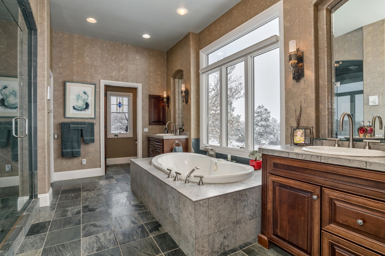 Luxurious Master Bath with His & Hers Closets