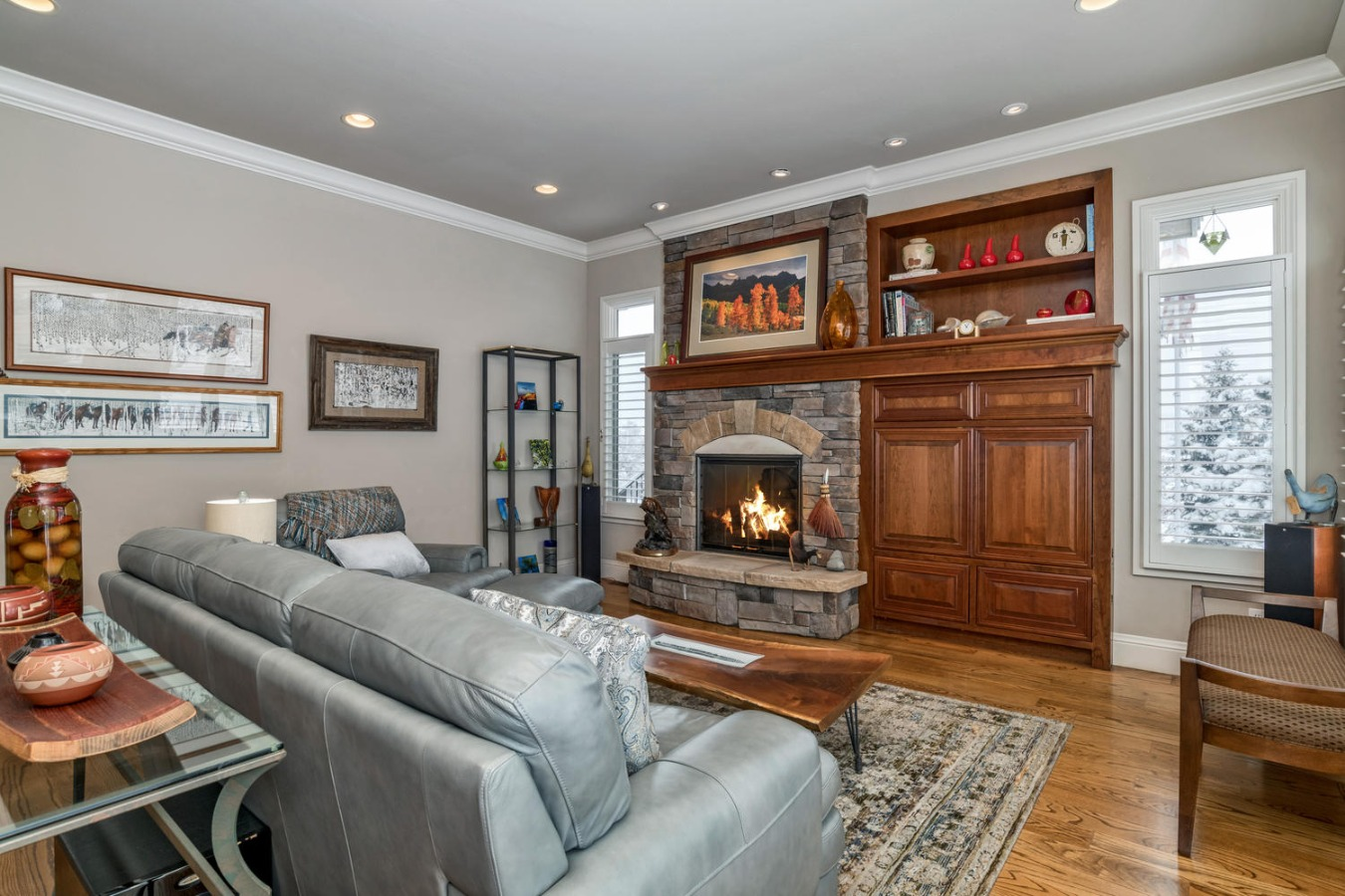 Great Room w/Gas FP & Cherry Entertainment Center
