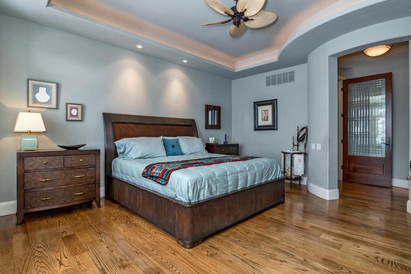 Master Bedroom Retreat has Leaded Glass Door