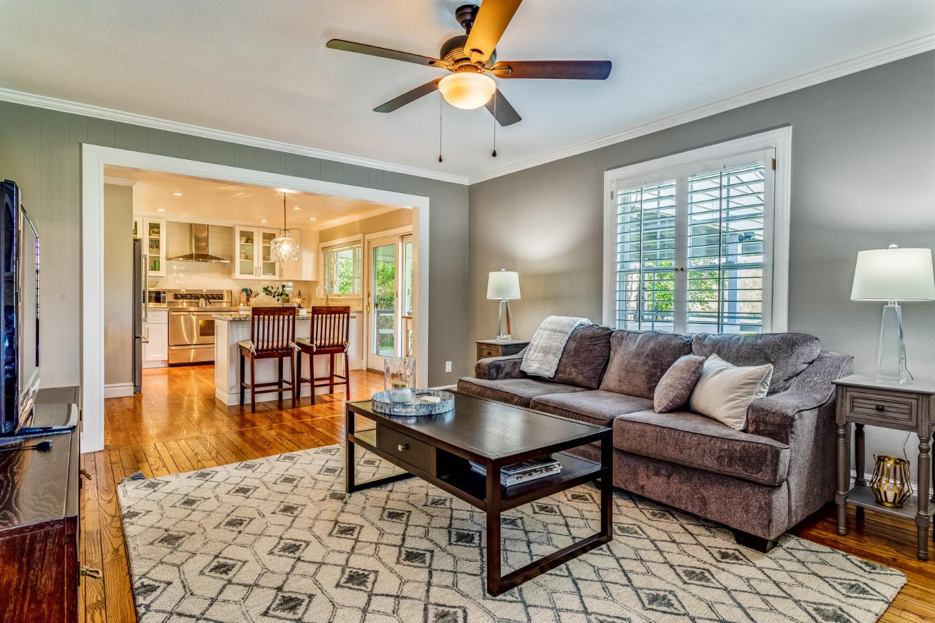 Family Room to Adjoining Kitchen View