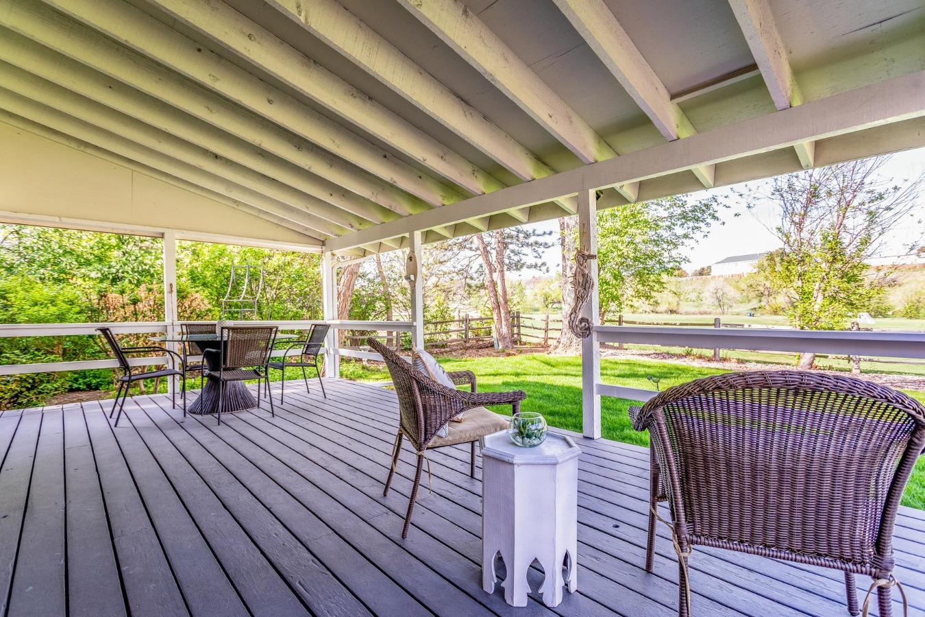Covered Deck Overlooks Yard & Cherry Knolls Park