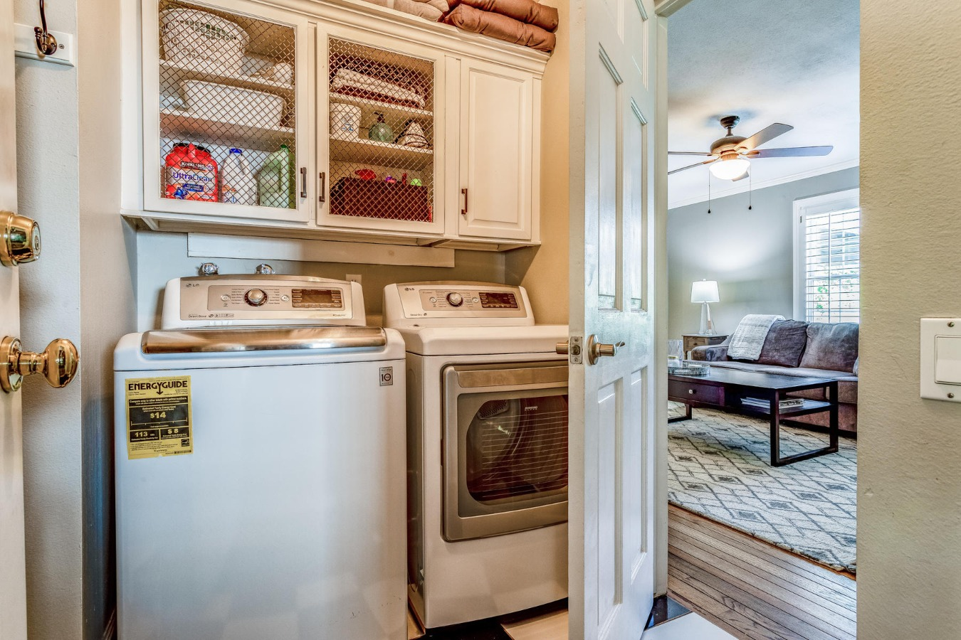 Laundry Room with Built-in Upper Cabinets