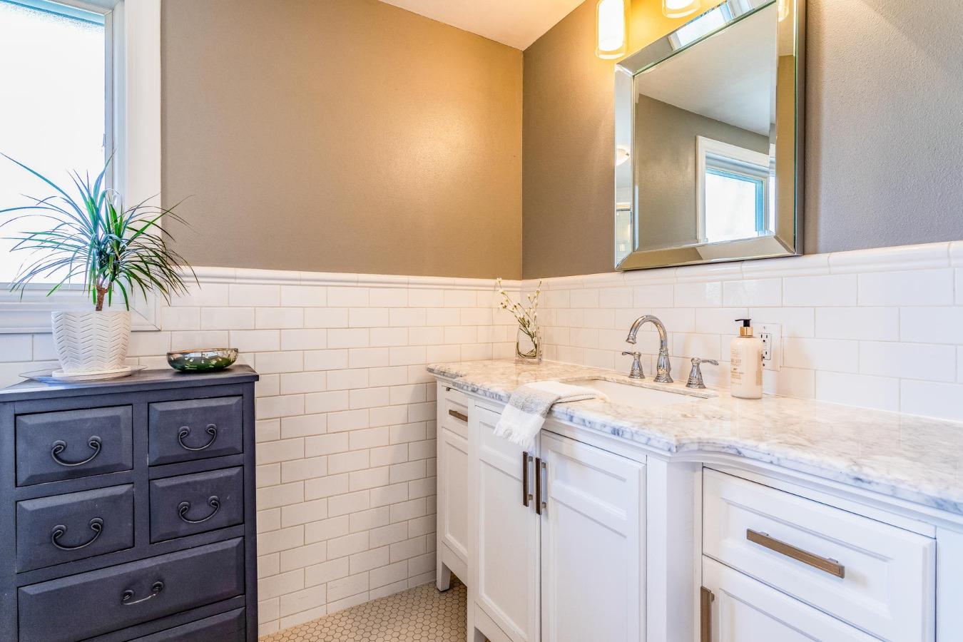 Remodeled Master Bath is Fully Tiled