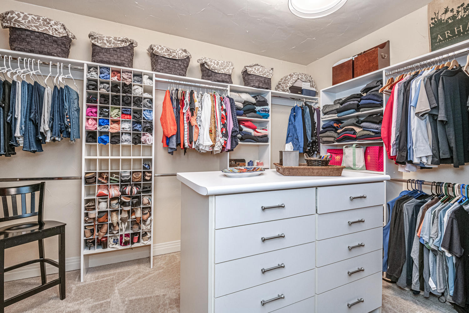 Customized Master Closet with Built-in Dresser