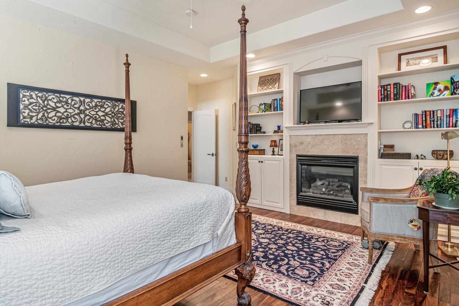 Built-ins Surround Fireplace in Master Suite