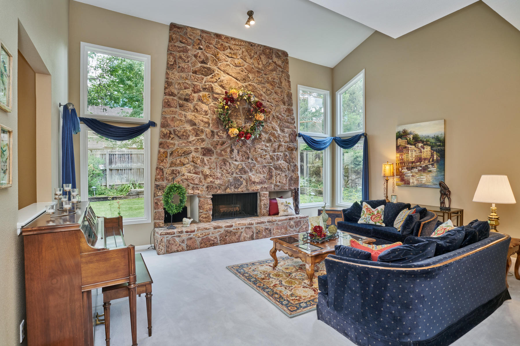 Large Open Two Story Living Room