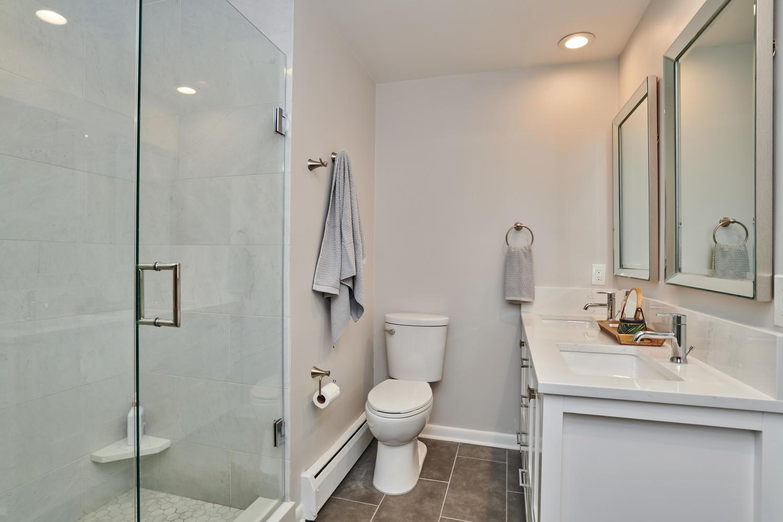 Remodeled Master Bath with Large Frameless Shower
