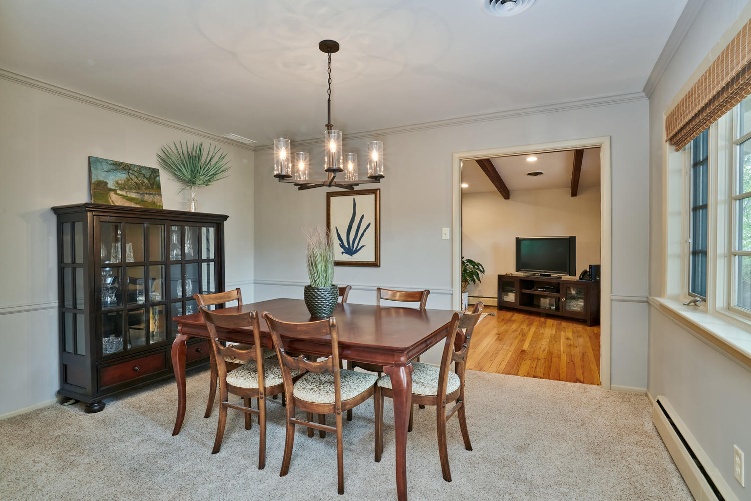 Large Formal Dining Room with Crown Molding