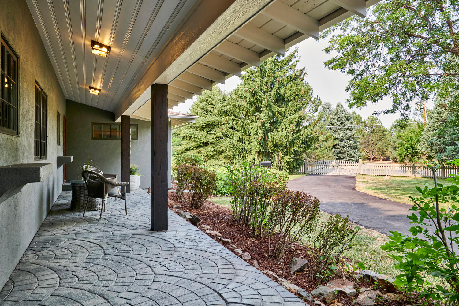 Spacious Covered Front Porch at Entry