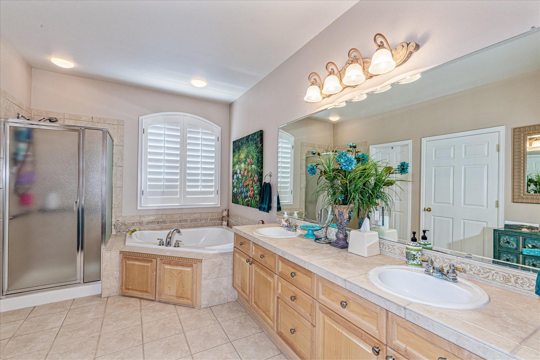 Large 5-pc Tiled Master Bath + Dual Large Closets