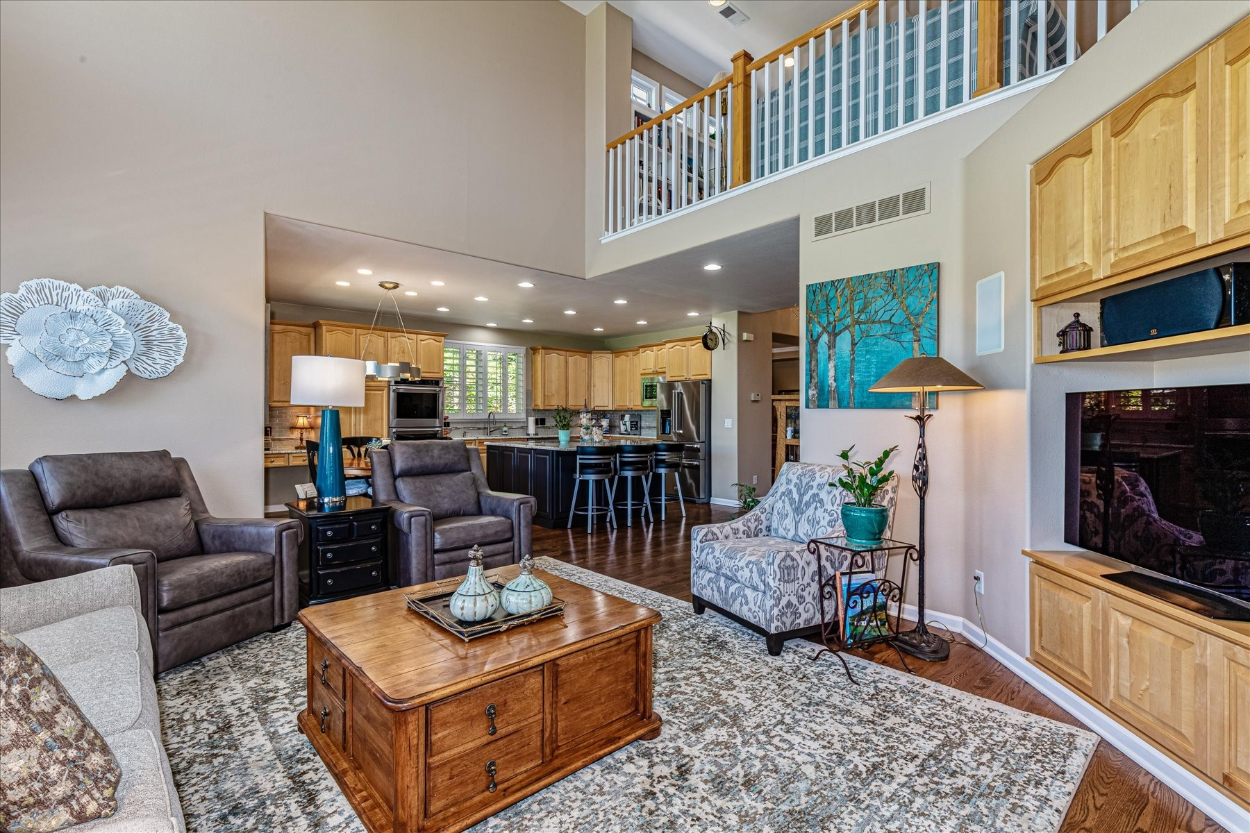Family Room Opens to Kitchen Area