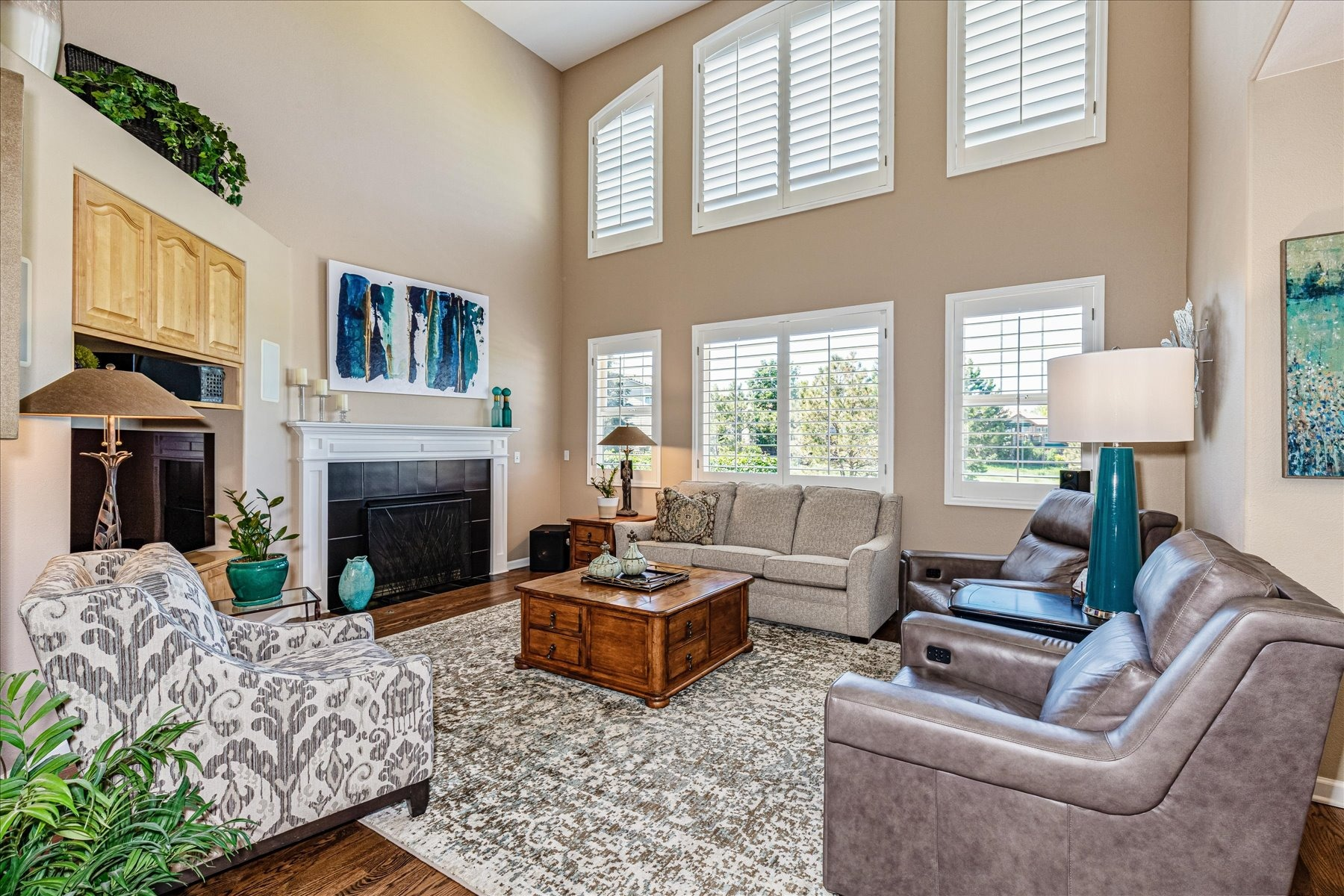 Grand Open Family Room with Built-ins & Fireplace
