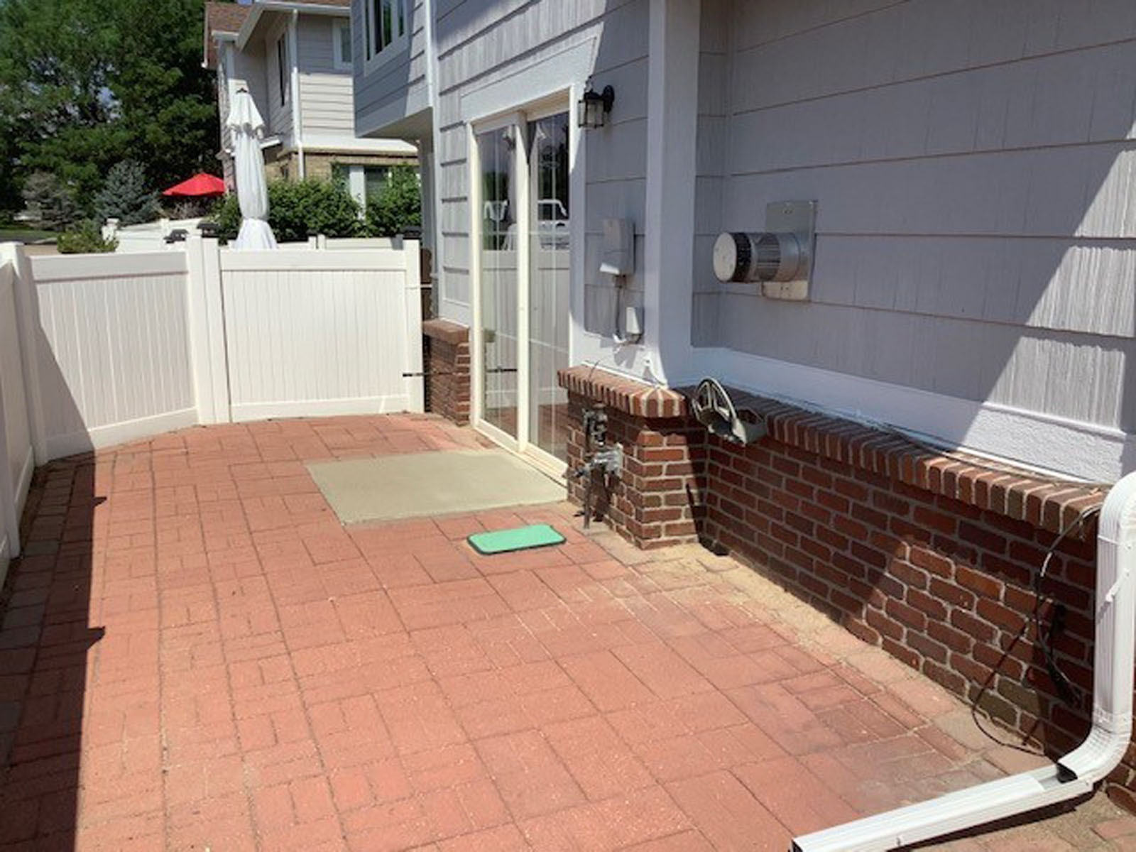 Large, Fenced Brick Paver Patio