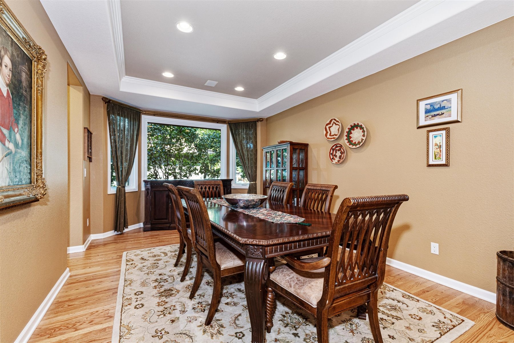 Large Formal Dining Room with Bay & Hardwoods