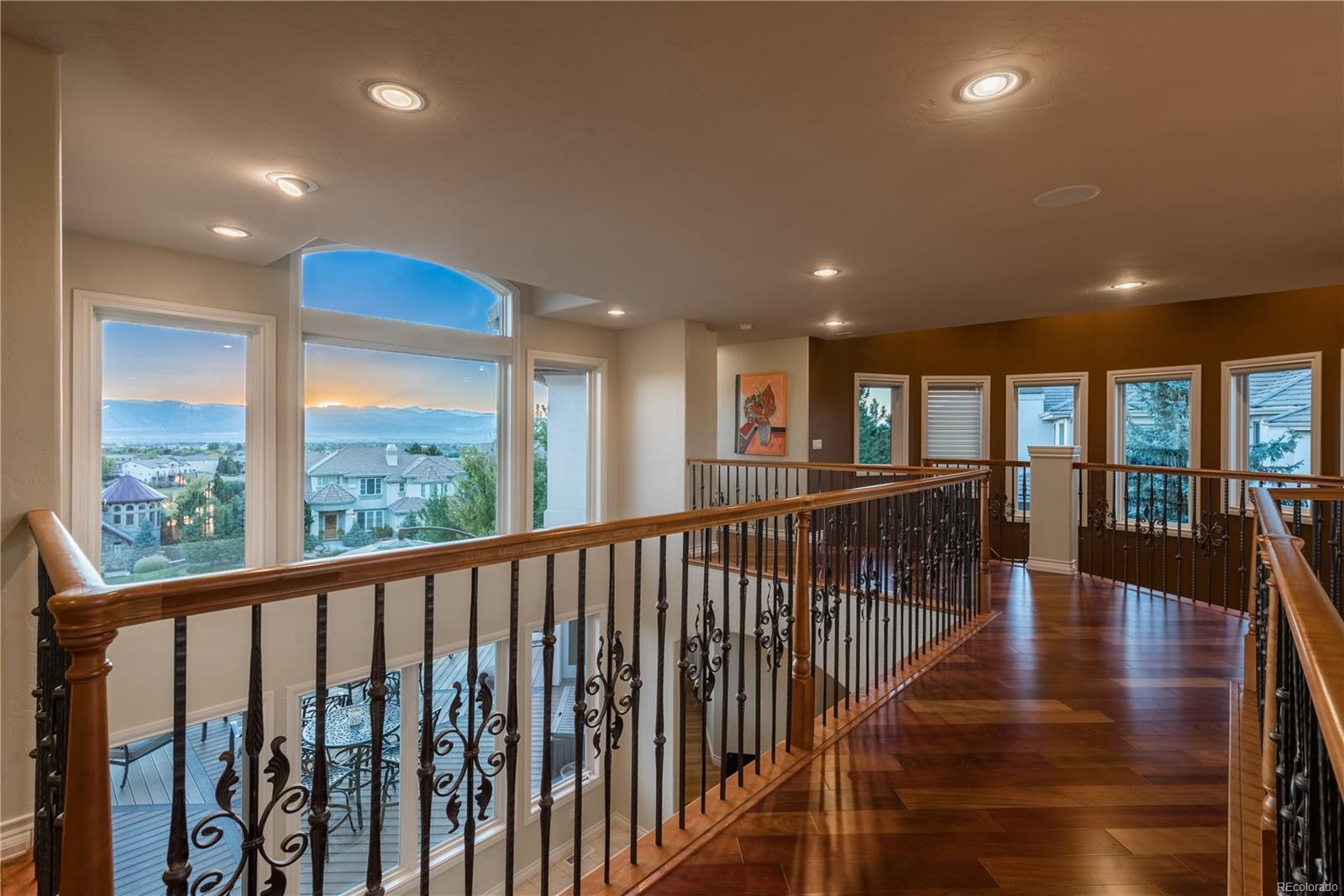Beautiful upper hallway offers amazing views.