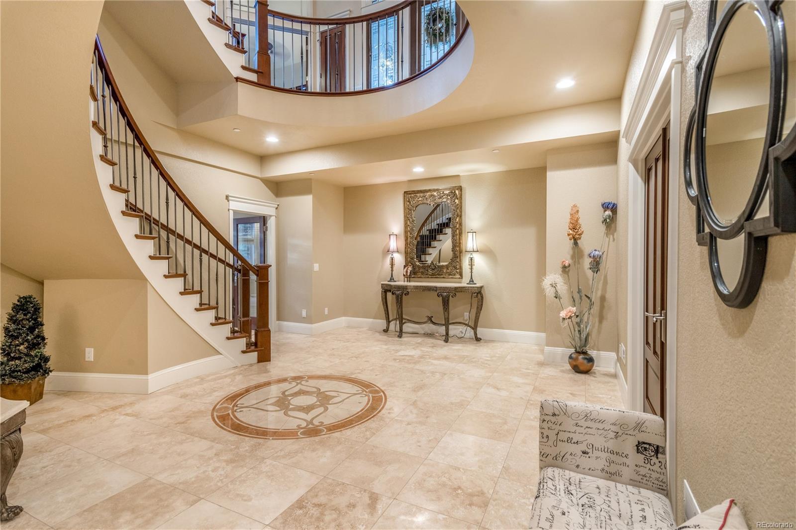 Elegant foyer in the lower level.
