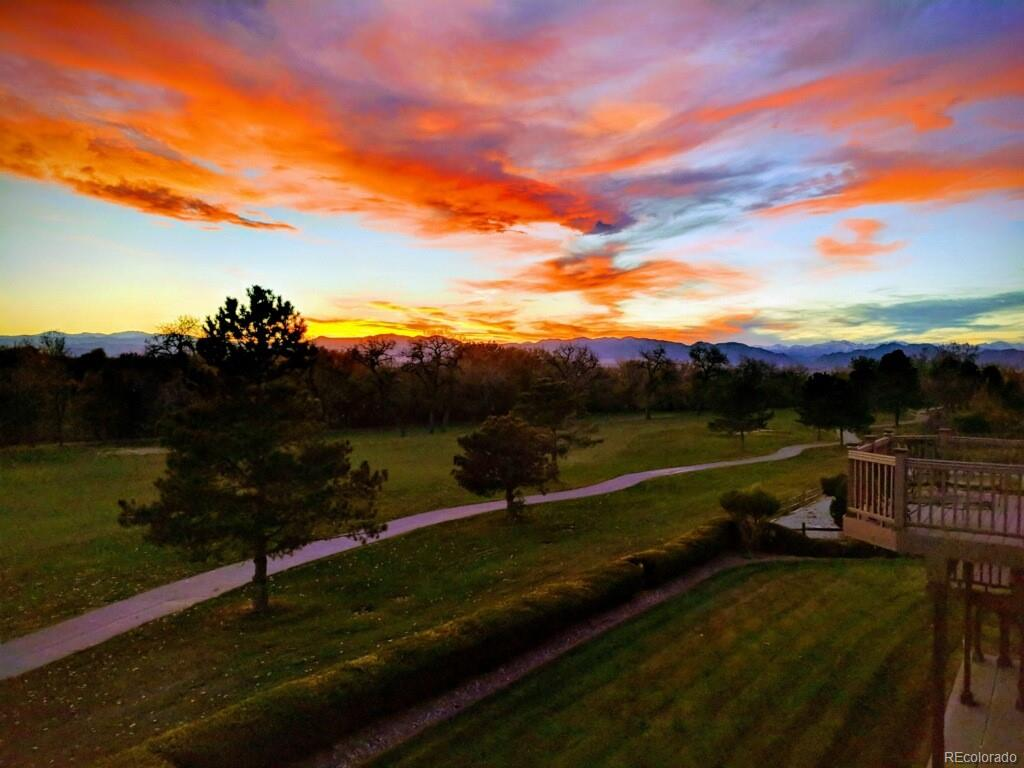 Sunset over golf course view
