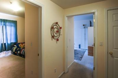Hallway view of the 2 bedrooms