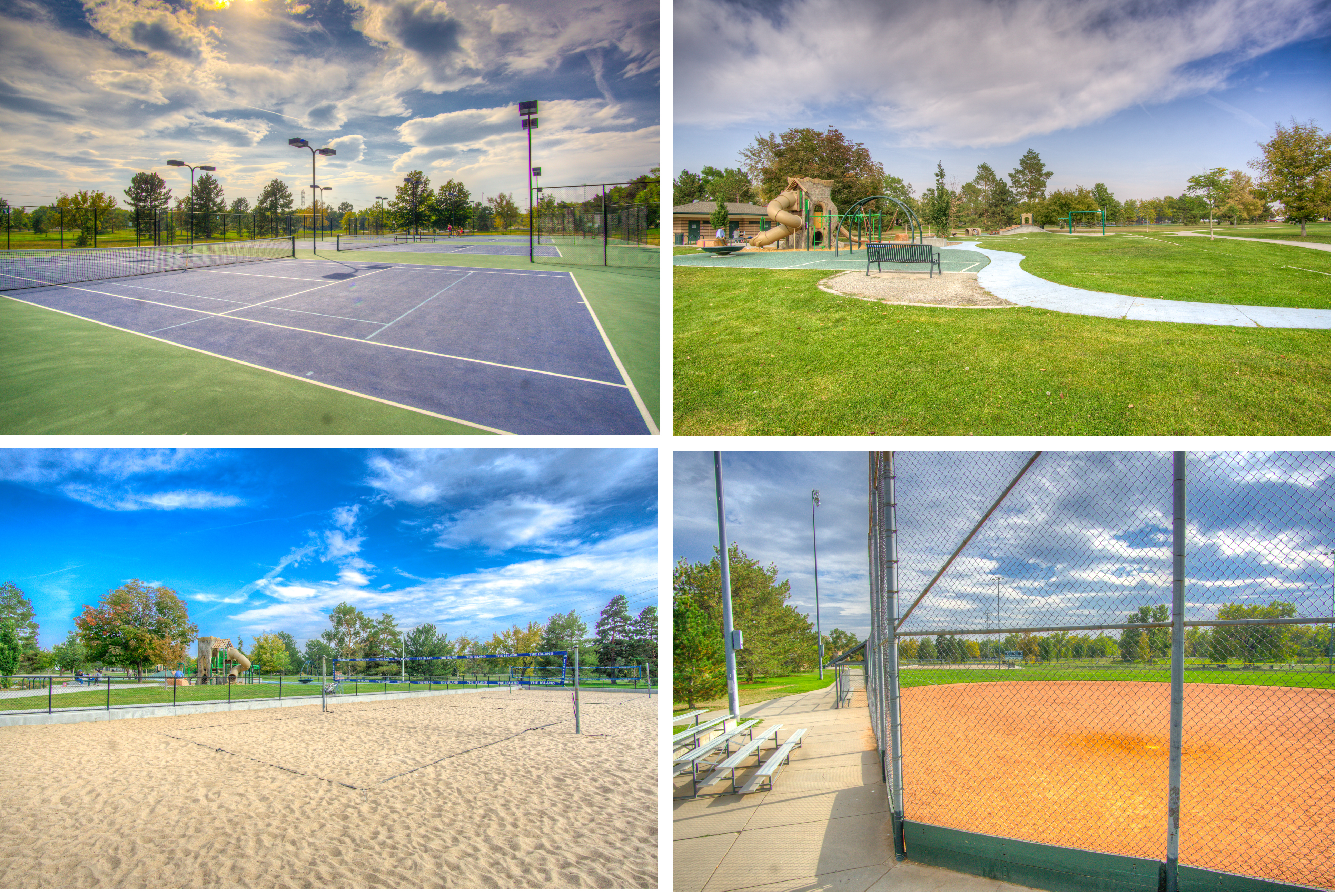 Tennis courts, volleyball, ballfields, playgrounds