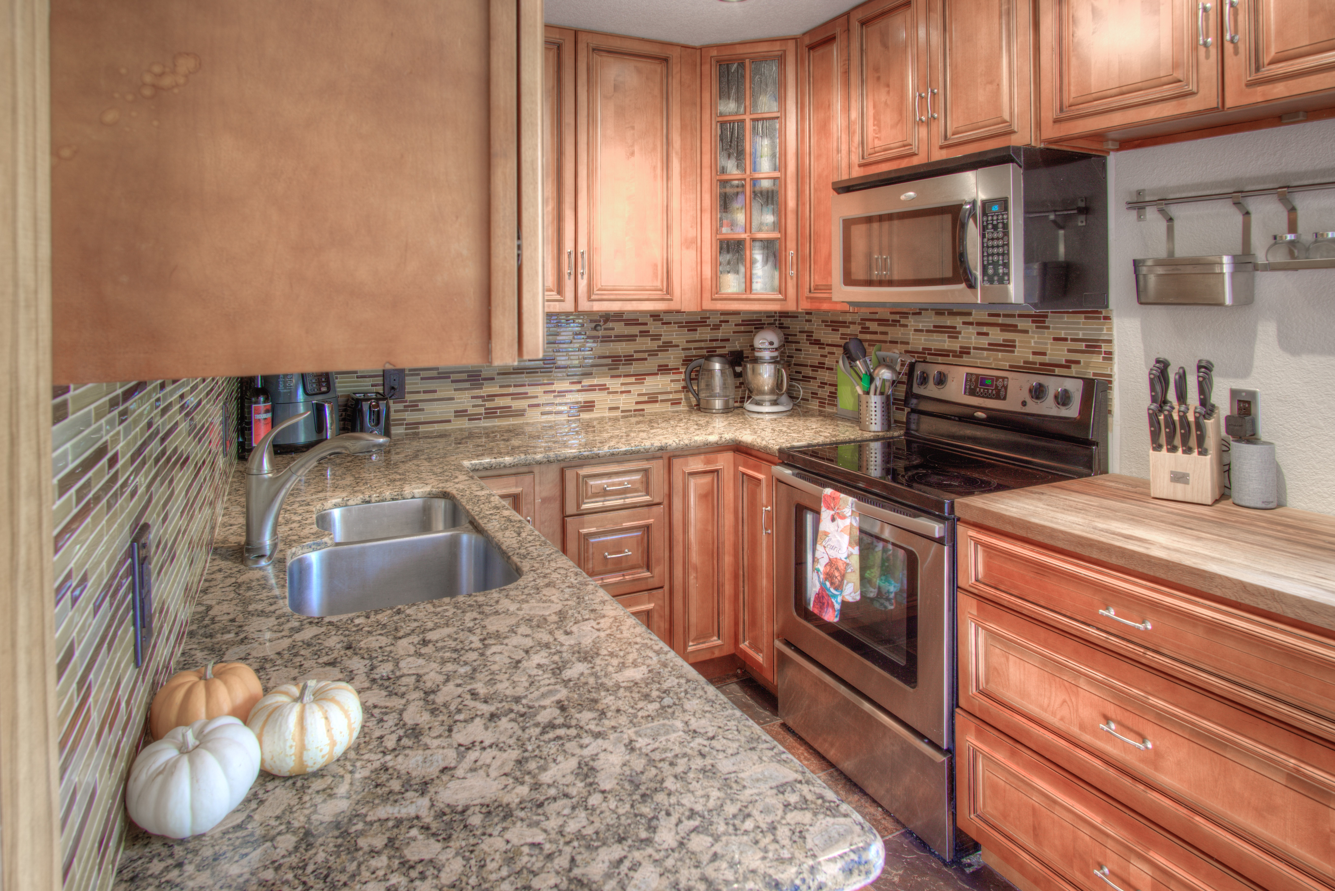 Slab granite and newer cabinets