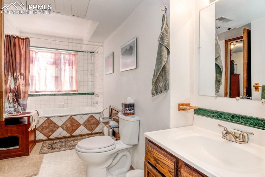 Lower level full bath features a garden tub.