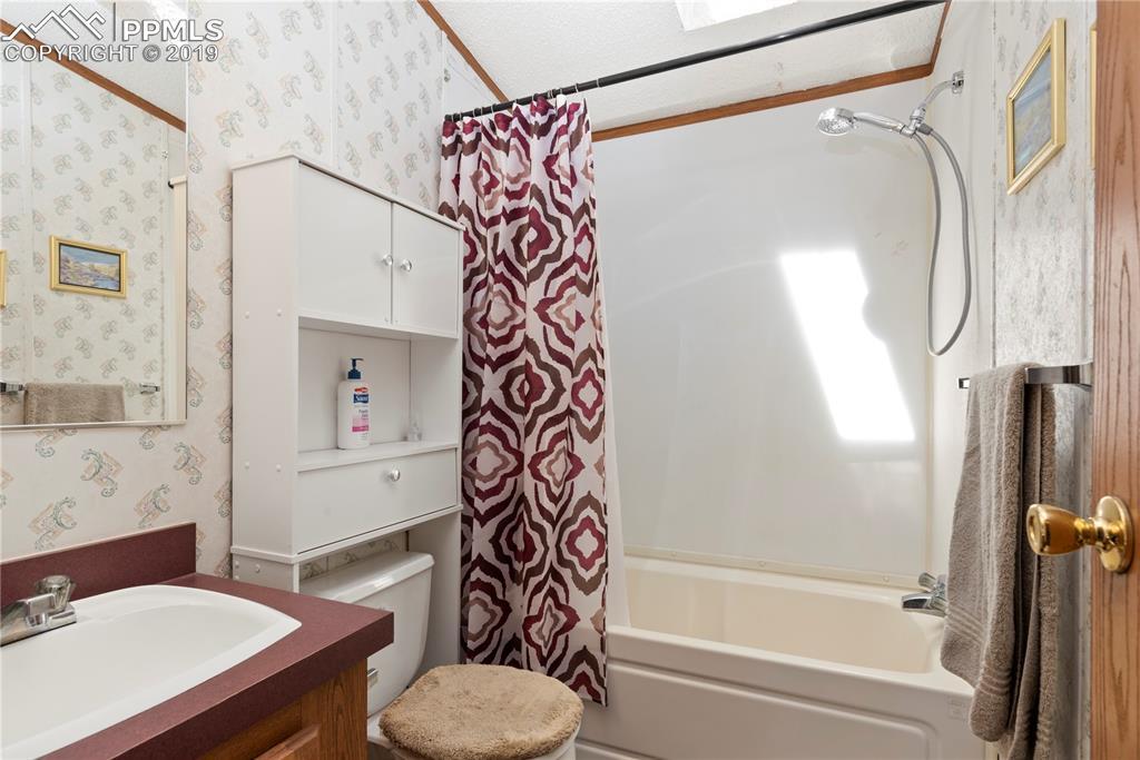 Full hall bath with skylight.