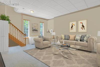Family room in basement.  The entire basement has 9 foot ceilings to give a spacious feeling.