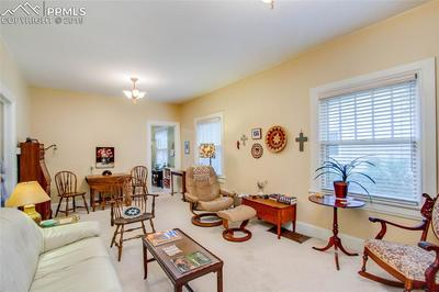 Expansive living room with original ceiling light fixtures and wood under the carpet.