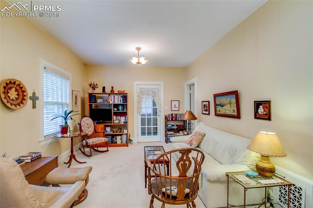 View of living room, from kitchen door.
