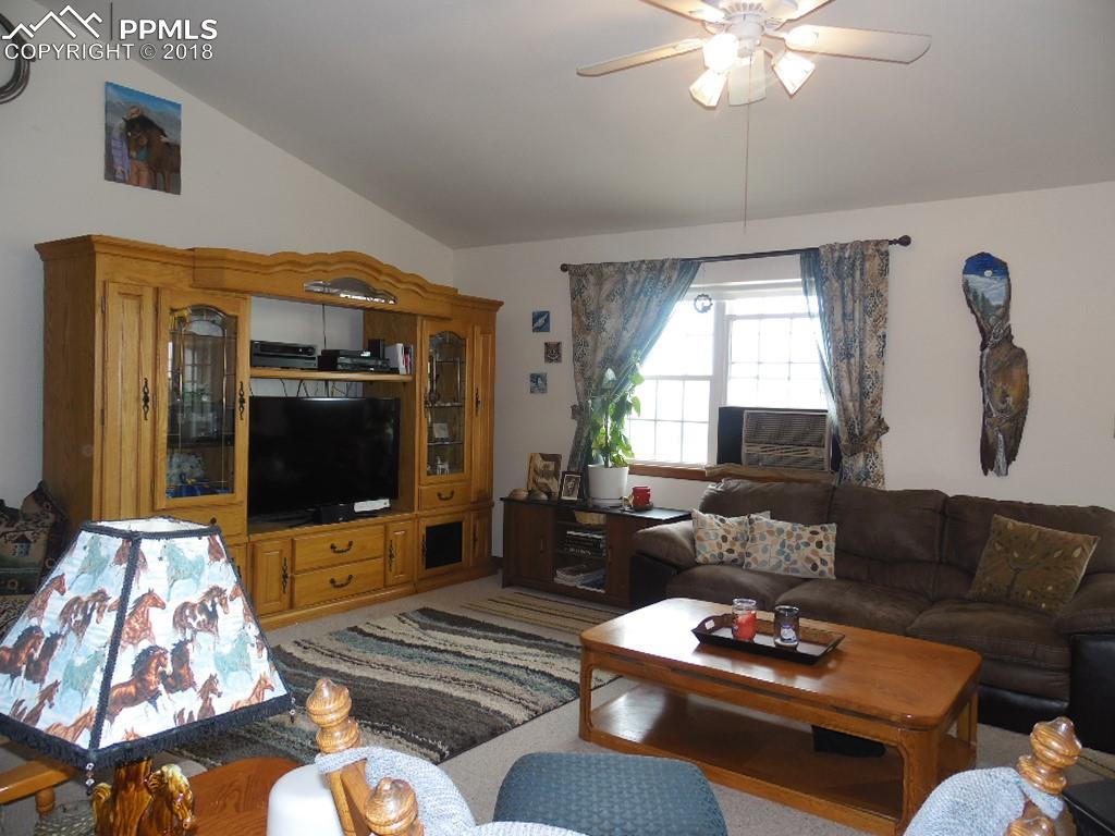 Vaulted Living Room~Ceiling Fan and Swamp Cooler