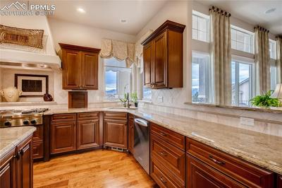 Slab granite counters and check out that view of the mountains!