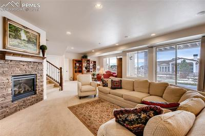Walk-out family room with stacked stone fireplace