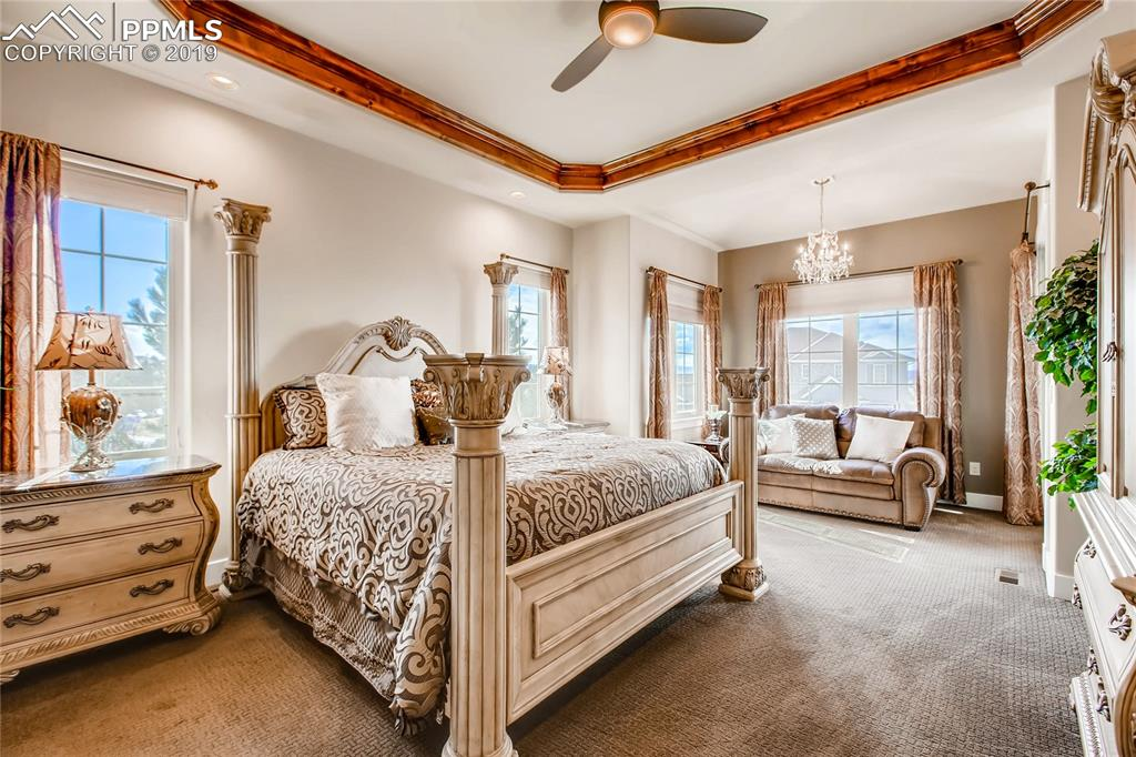 Master bedroom has a sitting area and detailed ceiling