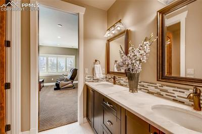 Lower level Jack-n-Jill bath with double vanities