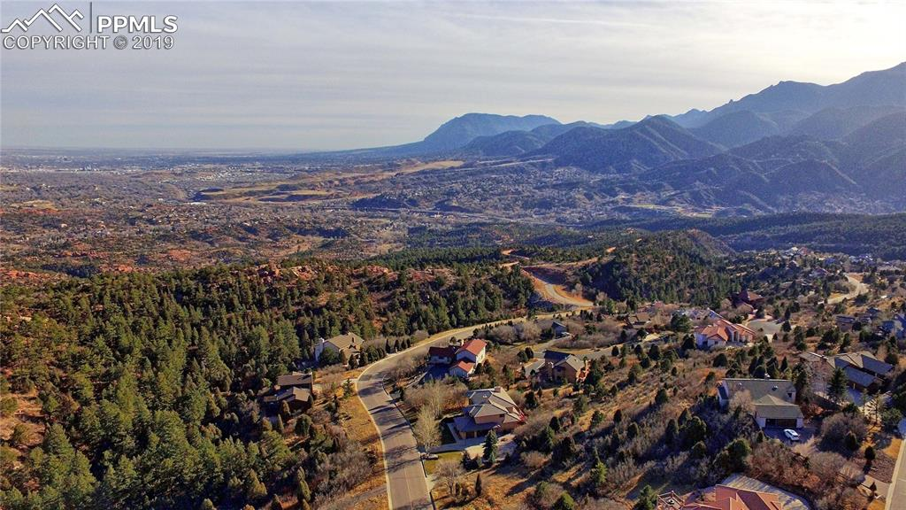 Aerial view from the drone above the lot -  looking south on Colorado Springs and Cheyenne Mountain