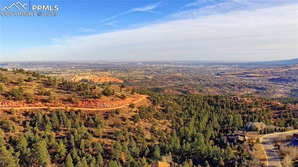 Aerial view looking south/east - Garden of the Gods and Colorado Springs in distance
