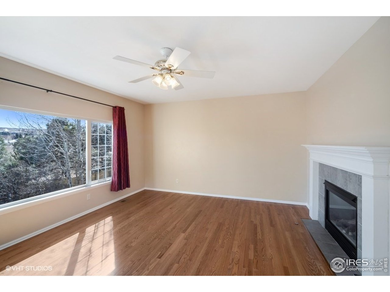 Picture window and gas fireplace