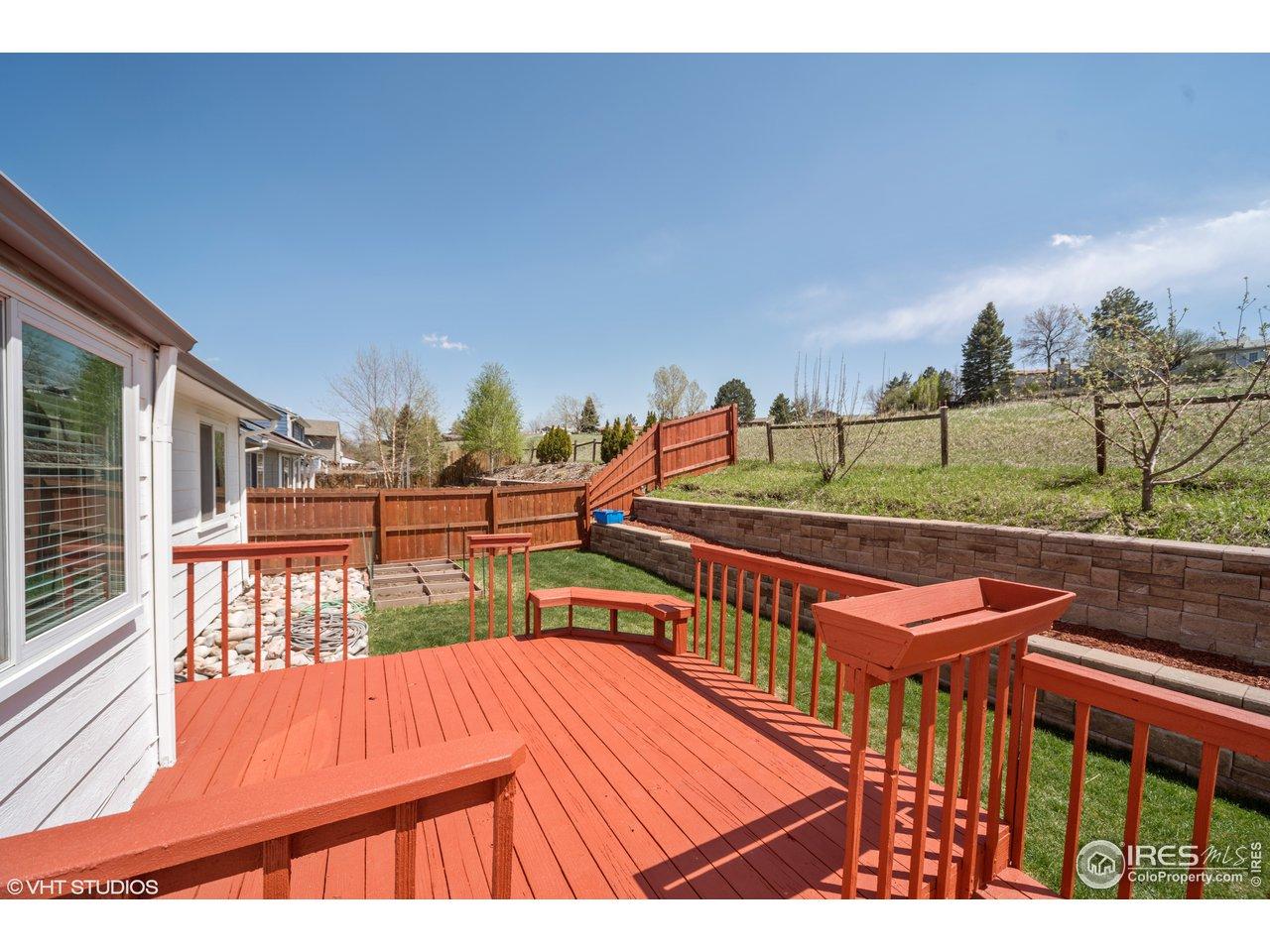 Rear deck overlooking open space.No rear neighbors