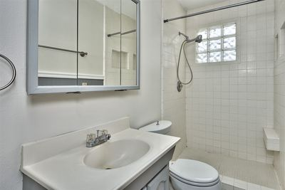 This home's bathroom boasts updated fixtures and step-in shower!