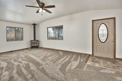 New carpeting is paired to original hardwood floors!
