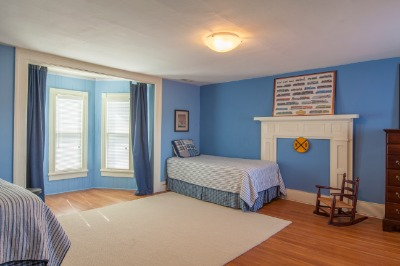 Bedroom with Bay Window and full bath with ceramic tile floor