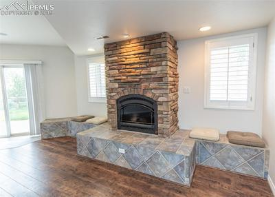 Walkout basement fireplace with built-in seating