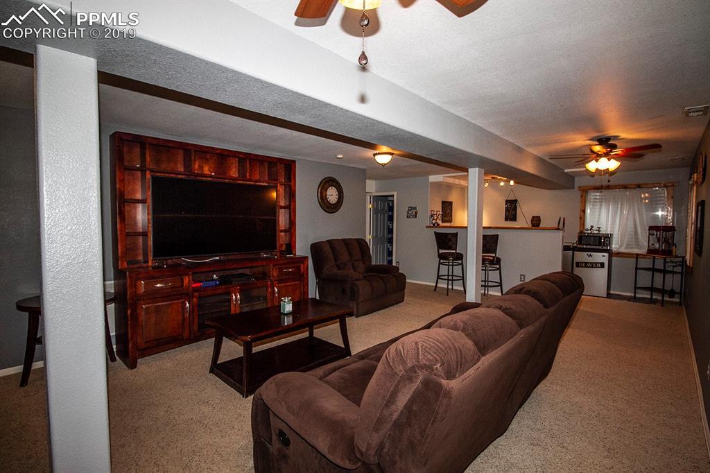 Family room in basement