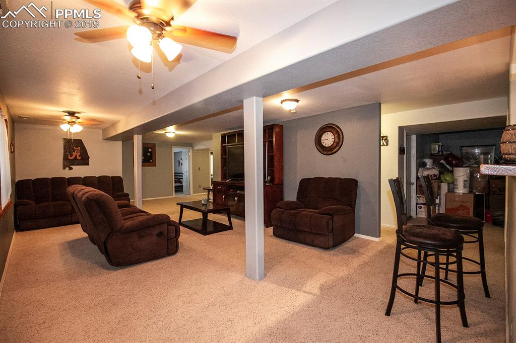 Spacious family room in basement
