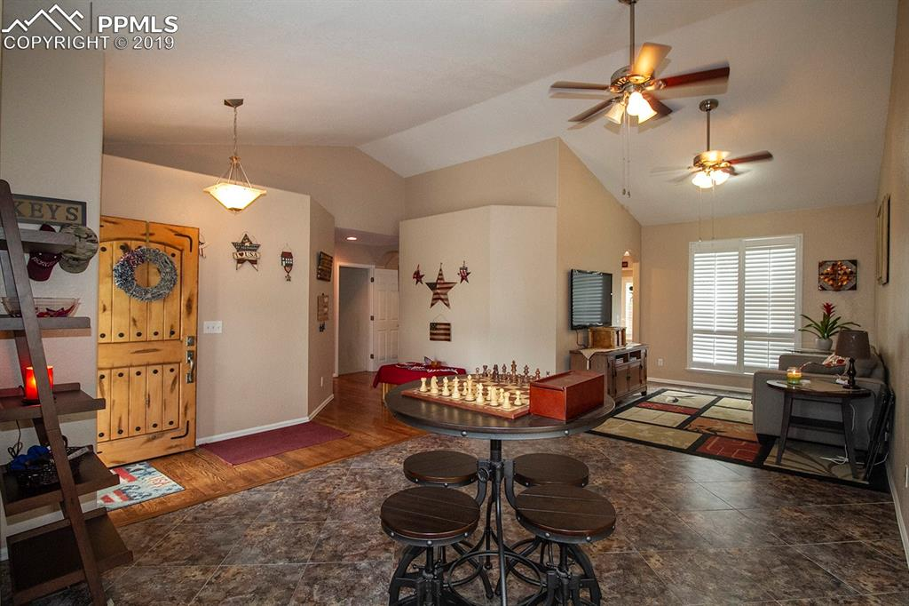 Spacious living room & entry