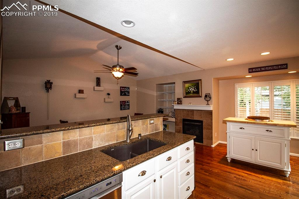 Kitchen island & entry into dining room