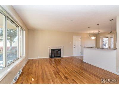 Living room with gleaming hardwood floors