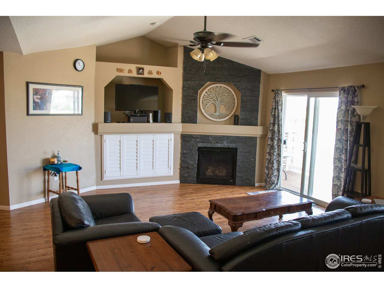 Gas Fireplace and Entertainment Area