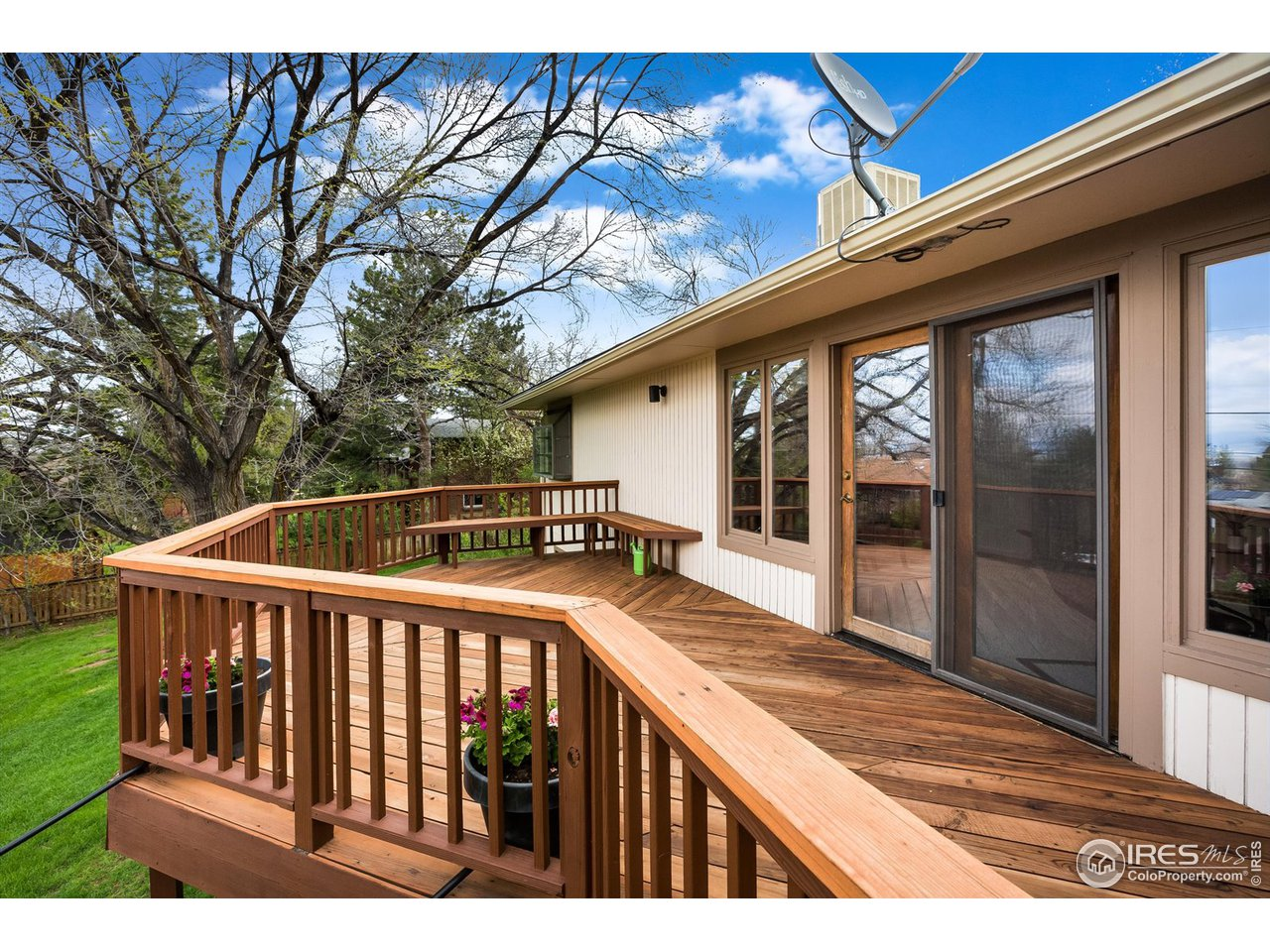 Wooden deck off of main level living area